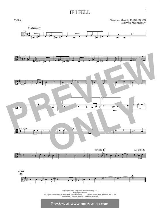 If I Fell (The Beatles): For viola by John Lennon, Paul McCartney