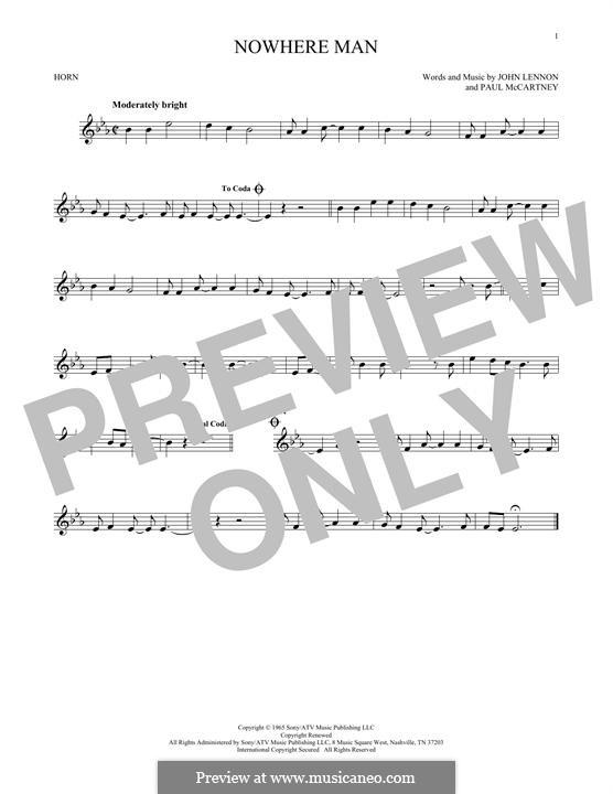 Nowhere Man (The Beatles): For horn by John Lennon, Paul McCartney