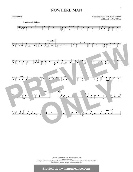 Nowhere Man (The Beatles): For trombone by John Lennon, Paul McCartney