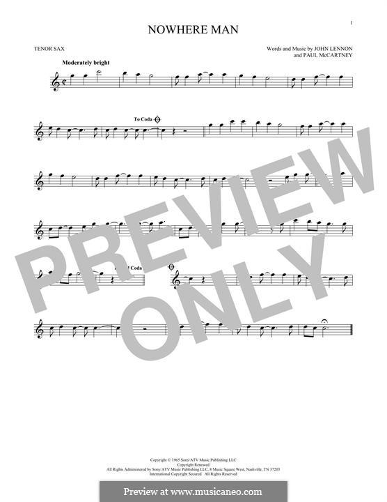 Nowhere Man (The Beatles): Для тенорового саксофона by John Lennon, Paul McCartney