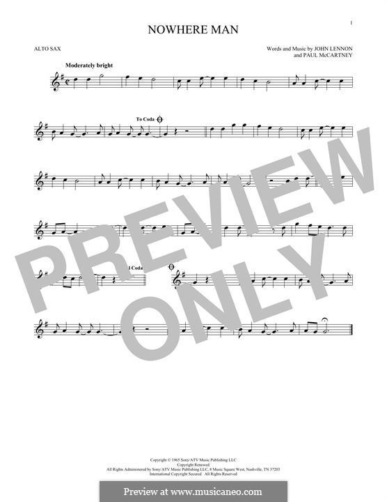 Nowhere Man (The Beatles): Для альтового саксофона by John Lennon, Paul McCartney