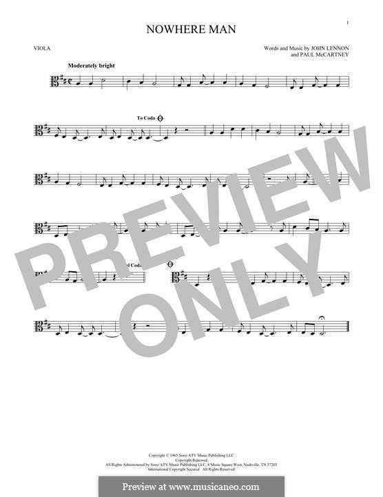 Nowhere Man (The Beatles): For viola by John Lennon, Paul McCartney