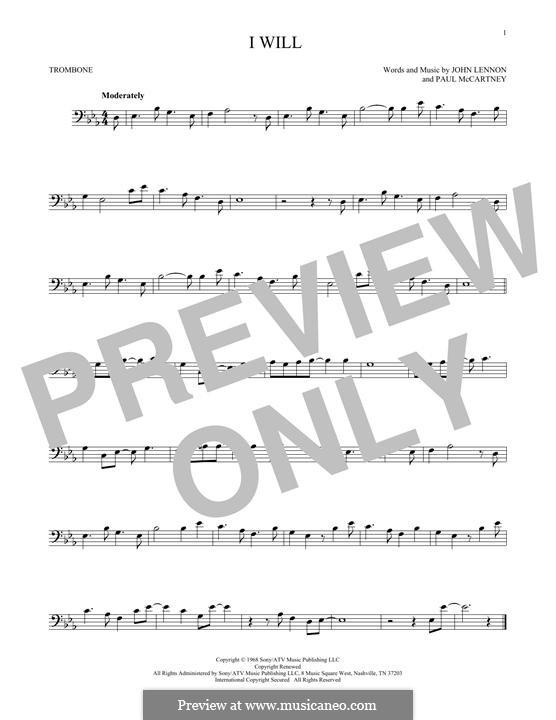 I Will (The Beatles): For trombone by John Lennon, Paul McCartney