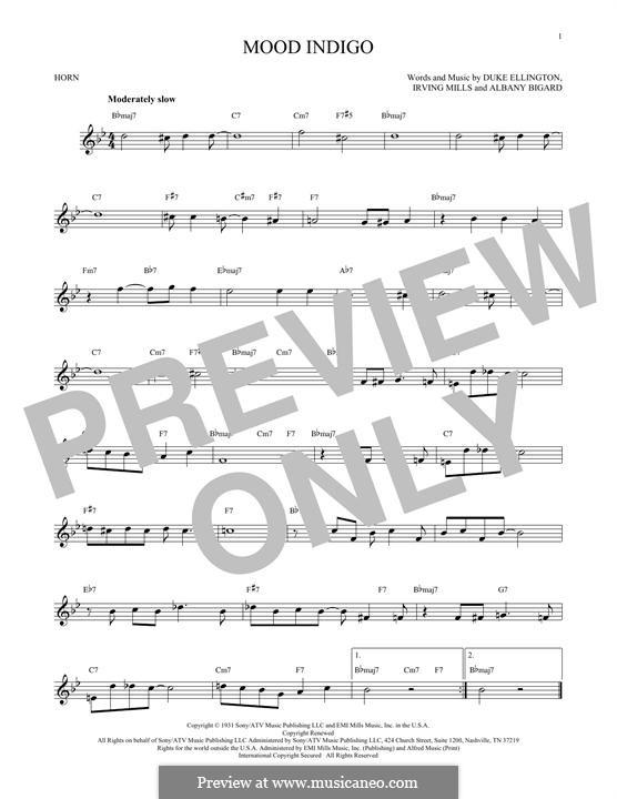 Mood Indigo: For horn by Irving Mills, Albany Bigard, Duke Ellington