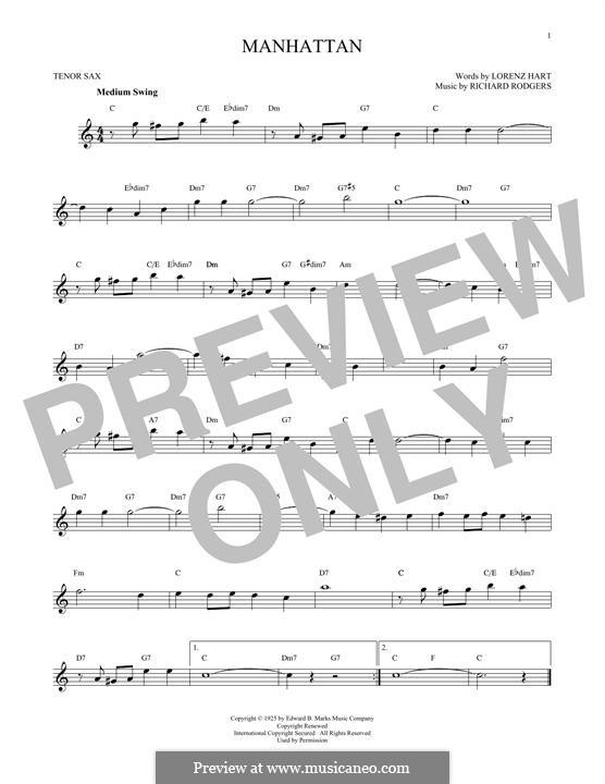 Manhattan: Для тенорового саксофона by Richard Rodgers