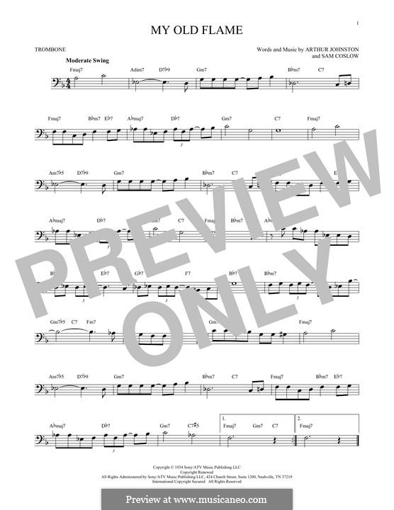 My Old Flame: For trombone by Sam Coslow, Arthur Johnston