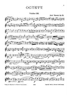 Октет для струнных до мажор, Op.78: Партия III скрипки by Фердинанд Тьерио