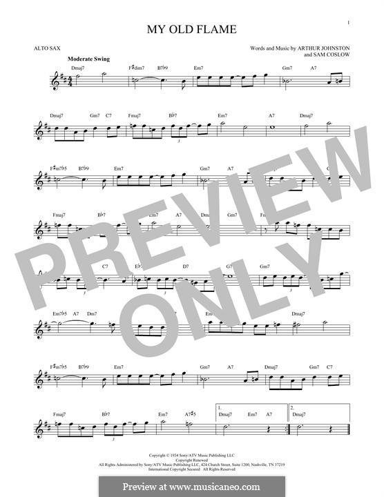 My Old Flame: Для альтового саксофона by Sam Coslow, Arthur Johnston