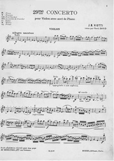 Концерт для скрипки с оркестром No.29 ми минор, WI:29: Версия для скрипки и фортепиано – партия скрипки by Джованни Баттиста Виотти