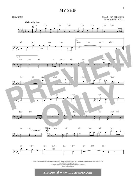 My Ship: For trombone by Kurt Weill