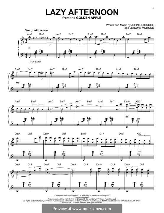 Lazy Afternoon (Barbra Streisand): Для фортепиано by Jerome Moross, John Latouche