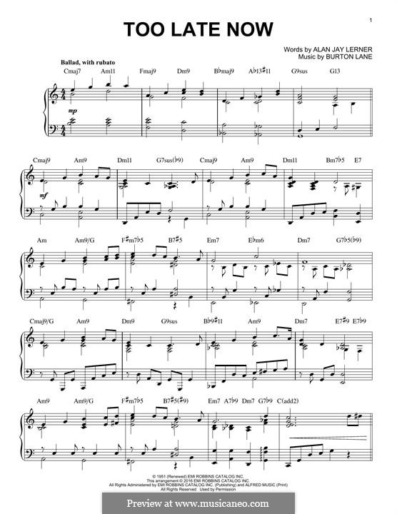 Too Late Now (Jane Powell): Для фортепиано by Burton Lane