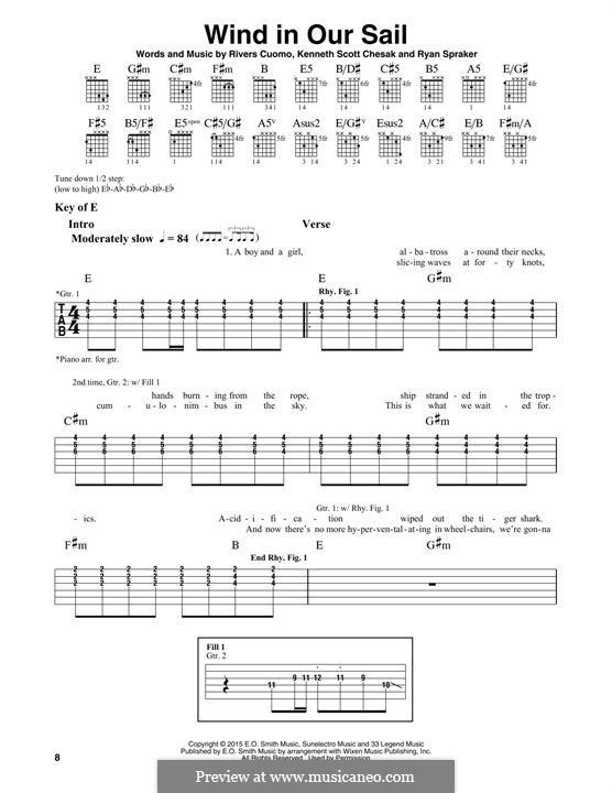 Wind in Our Sail (Weezer): Гитарная табулатура by Rivers Cuomo, Kenneth Scott Chesak, Ryan Spraker