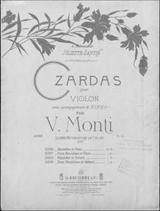 Чардаш: For violin and piano by Витторио Монти