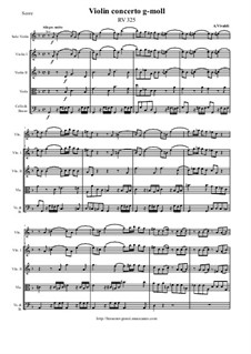 Concerto for Violin and Strings in G Minor, RV 325: Score and parts by Антонио Вивальди