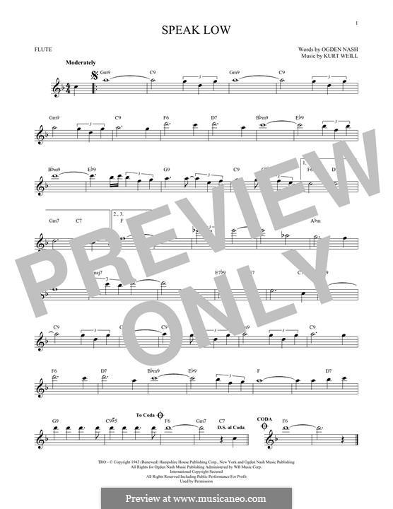 Speak Low: Для флейты by Kurt Weill