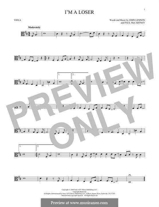 I'm a Loser (The Beatles): For viola by John Lennon, Paul McCartney