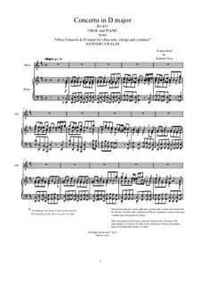 Concerto for Oboe and Strings in D Major , RV 453: Version for oboe and piano by Антонио Вивальди