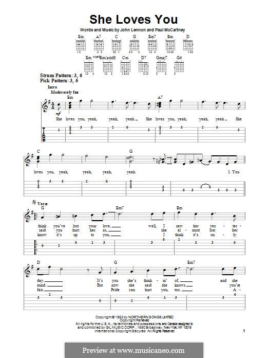 She Loves You (The Beatles): Гитарная табулатура by John Lennon, Paul McCartney