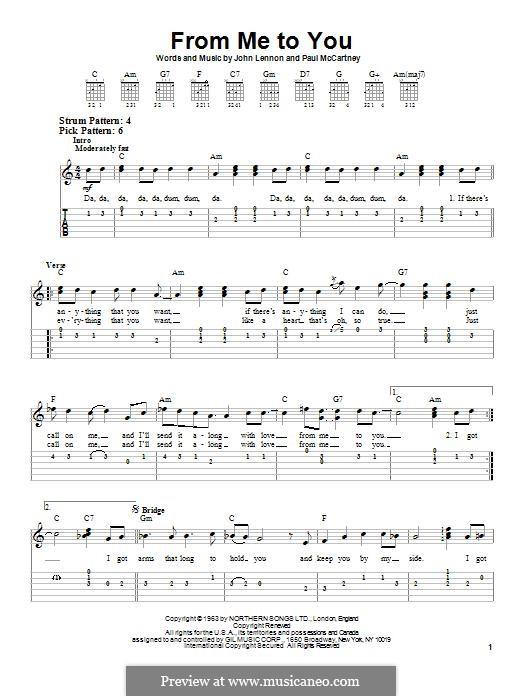 From Me to You (The Beatles): Гитарная табулатура by John Lennon, Paul McCartney