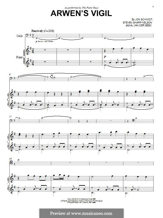 Arwen's Vigil (The Piano Guys): Для фортепиано by Jon Schmidt, Al van der Beek, Steven Sharp Nelson