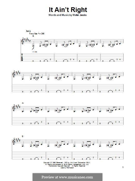 It ain't Right (John Mayall's Bluesbreakers): Гитарная табулатура by Walter Jacobs
