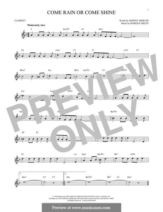 Come Rain or Come Shine: Для кларнета by Harold Arlen