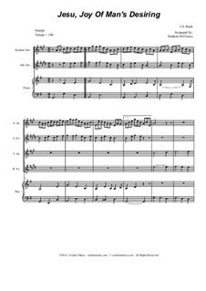 Jesu, Joy of Man's Desiring: For saxophone quartet by Иоганн Себастьян Бах