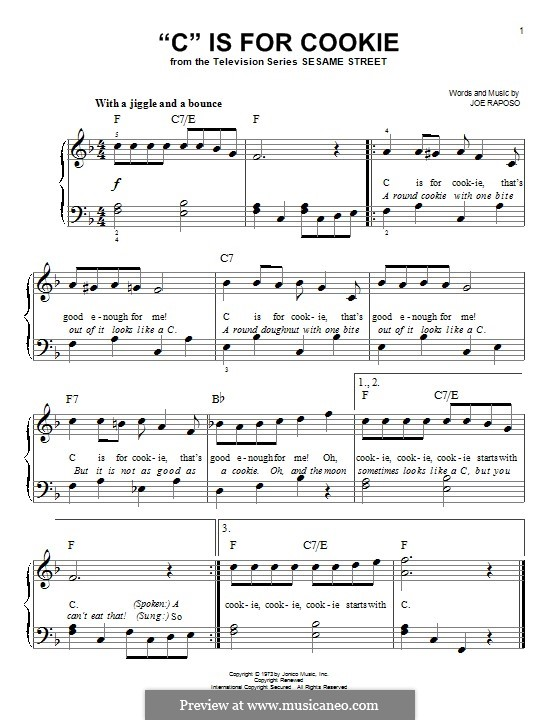 C is for Cookie (The Cookie Monster): Для фортепиано by Joe Raposo
