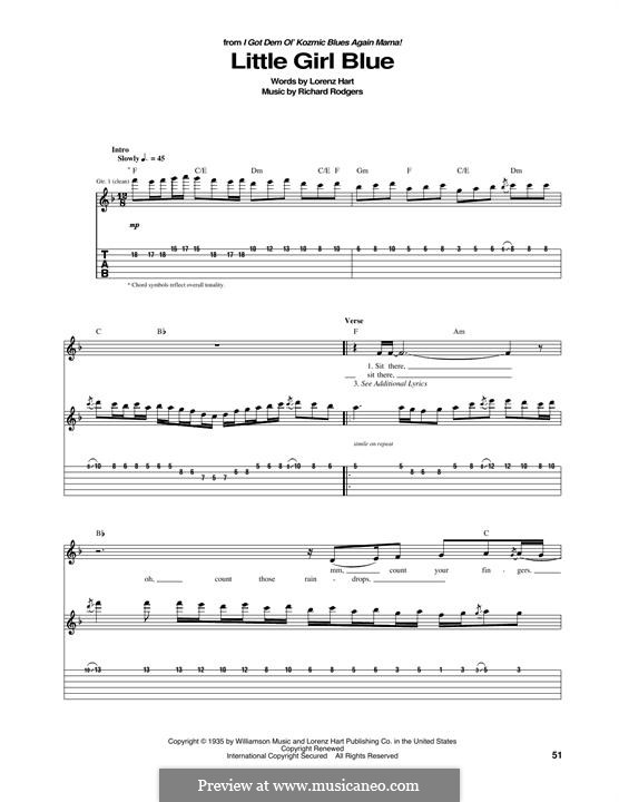 Little Girl Blue: Гитарная табулатура by Richard Rodgers