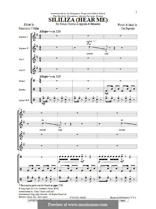 Sililiza (Hear Me): SSA by Jim Papoulis
