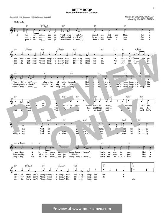 Betty Boop: Текст, аккорды by John W. Green