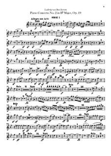 Концерт для фортепиано с оркестром No.2, Op.19: Партии гобоев by Людвиг ван Бетховен