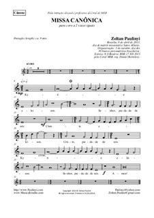 Canonic Mass for 2 equal voices in Canon with string orchestra ad libitum: Complete set of parts by Zoltan Paulinyi
