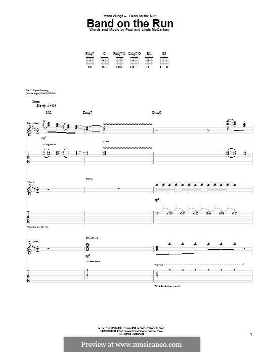 Band on the Run (Wings): Гитарная табулатура by Linda McCartney, Paul McCartney
