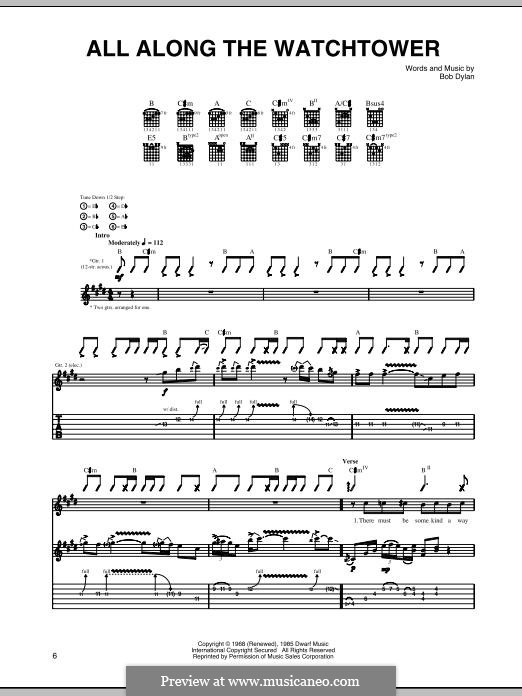 All Along the Watchtower: Гитарная табулатура by Bob Dylan