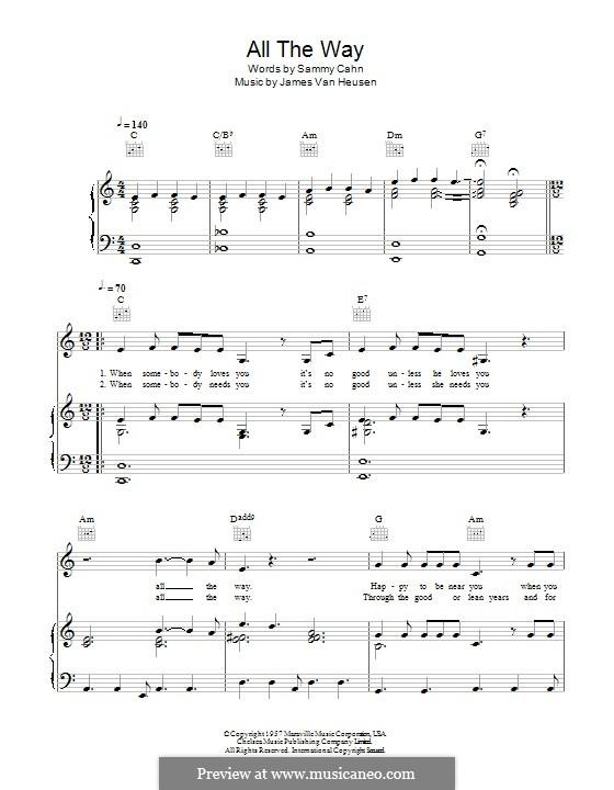 All the Way (Frank Sinatra): Для голоса и фортепиано (или гитары) by Jimmy Van Heusen