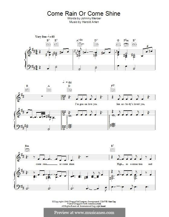 Come Rain or Come Shine: Для голоса и фортепиано (или гитары) by Harold Arlen