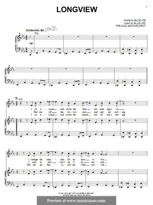 Longview (Green Day): Для голоса и фортепиано (или гитары) by Billie Joe Armstrong, Tré Cool, Michael Pritchard