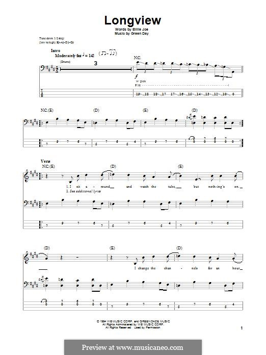 Longview (Green Day): Для бас-гитары с табулатурой by Billie Joe Armstrong, Tré Cool, Michael Pritchard