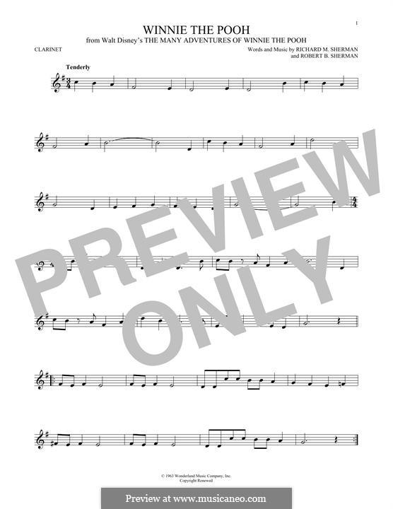 Winnie the Pooh: Для кларнета by Richard M. Sherman, Robert B. Sherman