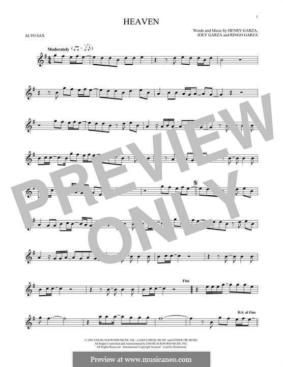 Heaven (Los Lonely Boys): Для альтового саксофона by Henry Garza, Joey Garza, Ringo Garza