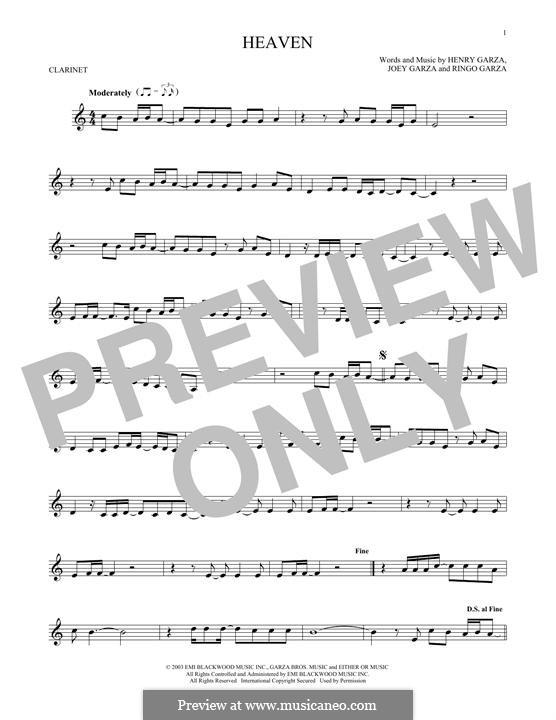 Heaven (Los Lonely Boys): Для кларнета by Henry Garza, Joey Garza, Ringo Garza