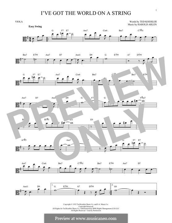 I've Got the World on a String: For viola by Harold Arlen