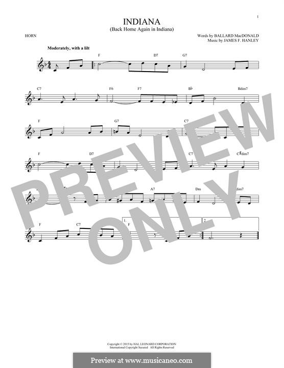 Indiana (Back Home Again in Indiana): For horn by James Frederick Hanley