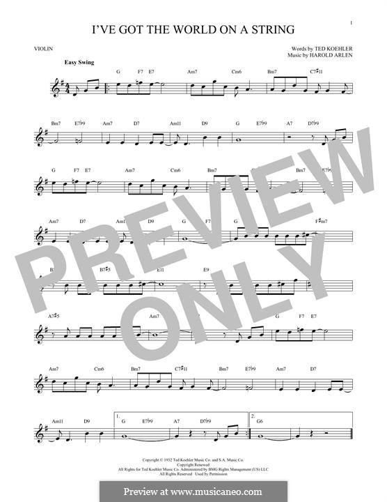 I've Got the World on a String: Для скрипки by Harold Arlen