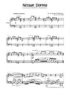 Turandot: Nessun dorma, for piano, Op.26 No.4 by Джакомо Пуччини