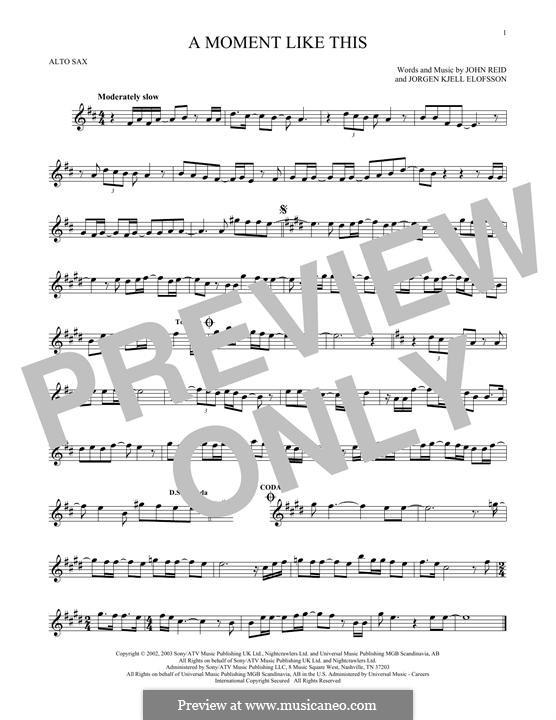 A Moment Like This: Для альтового саксофона by John Reid, Jörgen Kjell Elofsson