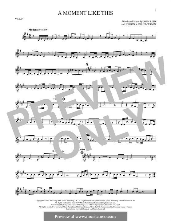 A Moment Like This: Для скрипки by John Reid, Jörgen Kjell Elofsson
