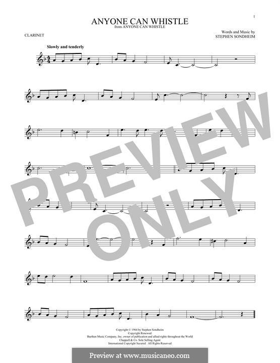 Anyone Can Whistle: Для кларнета by Stephen Sondheim
